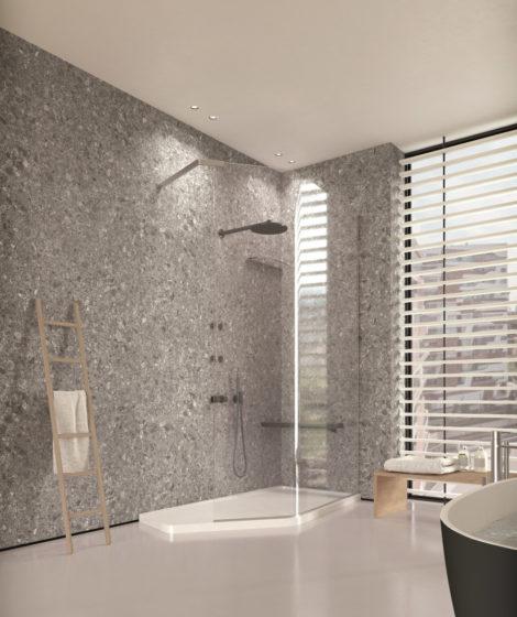 Douche avec céramique grise - Cesana